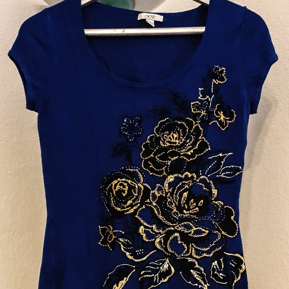 Cache Tops - Blouse brand cache size S Royal blue in color